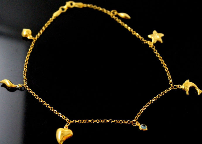 21k 21ct Gold BEAUTIFUL LADIES Charm 1 PC LOCK BANGLE BRACELET B860a
