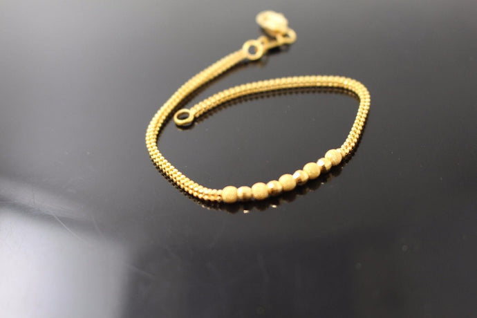 22k Jewelry Solid Gold ELEGANT Charm Ladies Bracelet Unique Design 7 inch b642