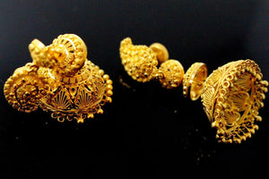 22k 22ct Solid Gold ELEGANT LONG JHUMKE EARRINGS Antique Design E5762