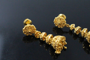 22k 22ct Solid Gold ELEGANT LONG JHUMKE EARRINGS Antique Design E5771