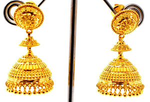 22k 22ct Jewelry Solid Gold ELEGANT LONG JHUMKE DANGLING Earring e5805
