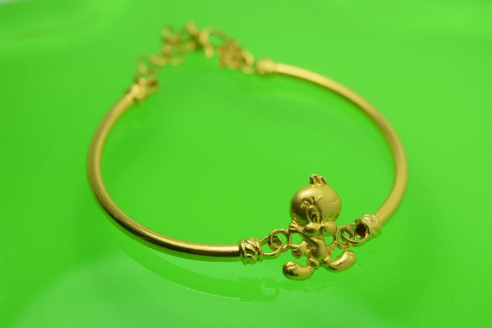 22k 22ct Solid Gold BABY TWEETY BIRD CHILD BRACELET CHARM BANGLE CUFF CB8