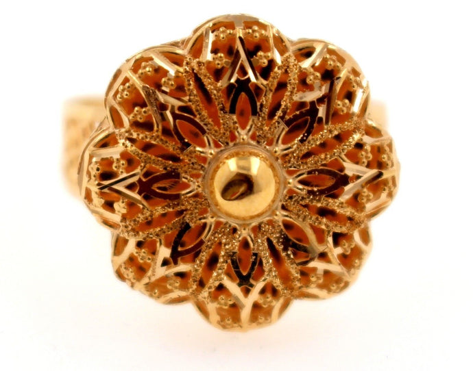 21k 21ct Gold Elegant Flower Design Ladies Ring SIZE 9.2 R1584