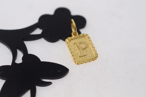 "22k 22ct Solid Gold ""P"" letter Rectangular Charm Pendant p803"