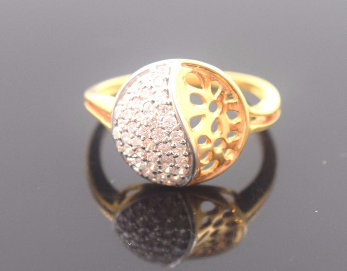 22k 22ct Solid Gold ZIRCONIA ROUND WOMEN Ring BAND