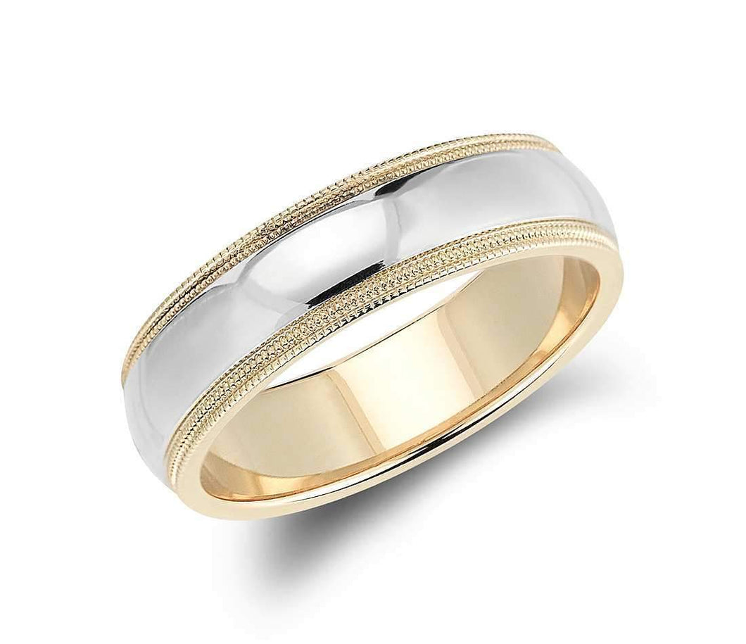 14k Solid Gold Double Milgrain Comfort Fit Wedding Ring 6mm Custom Sizing