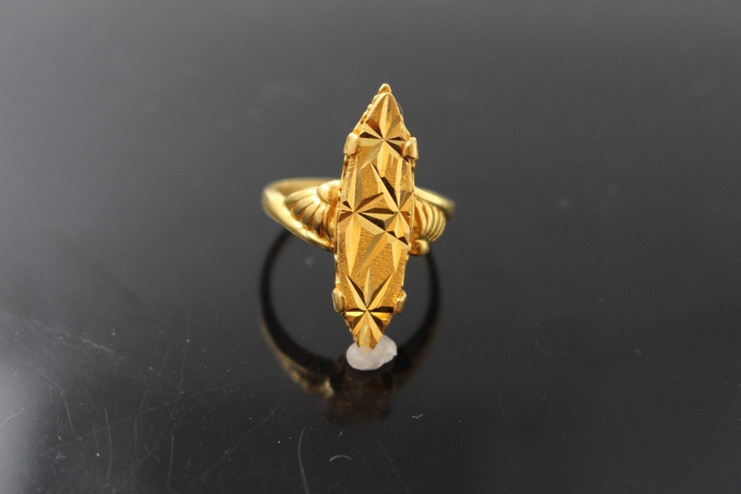 22k 22ct Solid Gold DIAMOND CUT ANTIQUE LADIES RING SIZE 7 RESIZABLE