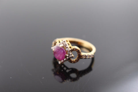 "22k 22ct Solid Gold ELEGANT Antique Ladies Stone Ring SIZE 6.0 ""RESIZABLE"" r1125"
