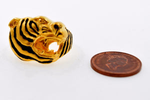 "22k Jewelry Solid Gold Charm Tiger Ring Unique Design ""RESIZABLE"" R696"