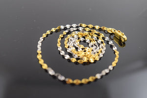 22k Yellow Solid Gold Chain Rope Necklace 1 mm C06 Two Tone Modern Design | Royal Dubai Jewellers