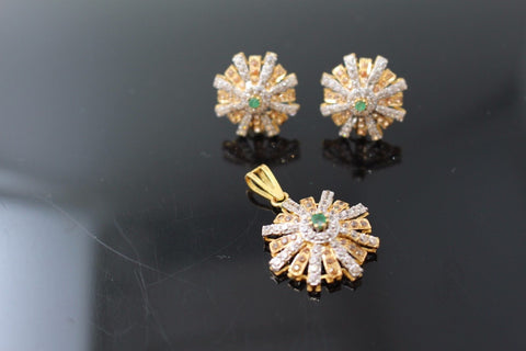22k Jewelry Solid Gold ELEGANT Charm Emerald Pendant Set Flower Shape p629 | Royal Dubai Jewellers
