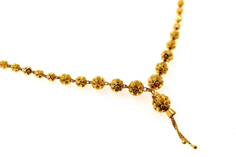 22k Yellow Solid Gold Chain Necklace Diamond Cut Ball Design Length 28 inch c836