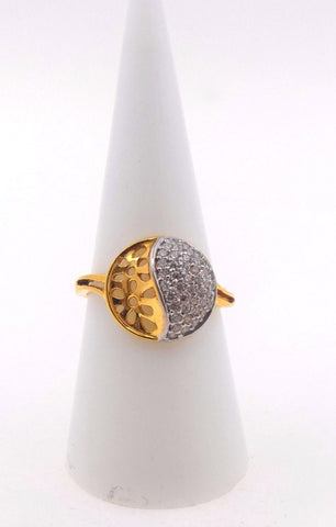 "22k 22ct Solid Gold ZIRCONIA ROUND WOMEN Ring BAND ""RESIZABLE"" size7.0 r793"