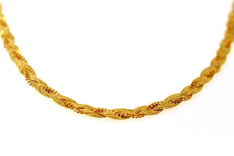 22k 22ct Yellow Solid Gold Chain DESIROUS HERRINGBONE Braided Design 18in c892 | Royal Dubai Jewellers