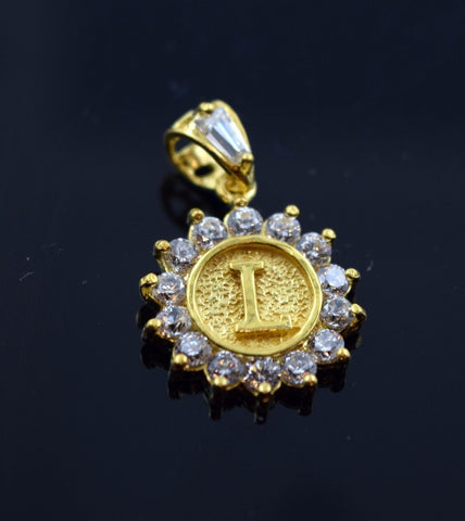 22k Jewelry Solid Gold Round Shape Pendent L letter with stone Modern Design pl2