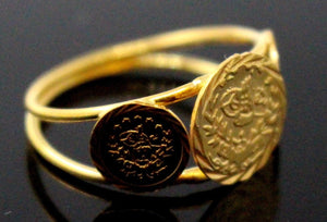 21Karat 21ct GORGEOUS SOLID GOLD GINNI COIN RING band R1577 - Royal Dubai Jewellers