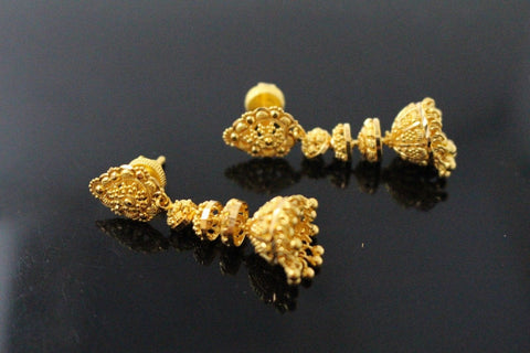 22k 22ct Solid Gold ELEGANT LONG JHUMKE EARRINGS Antique Design E5774