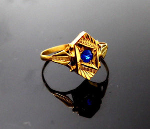 "22k 22ct Solid Gold BEAUTIFUL BABY Ring Blue Stone SIZE 0.9 ""RESIZABLE"" r1228"