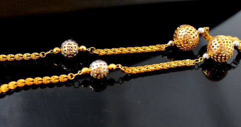 22k Gold Solid Yellow Elegant Chain Ball Design Two Tone Length 24 inch c628