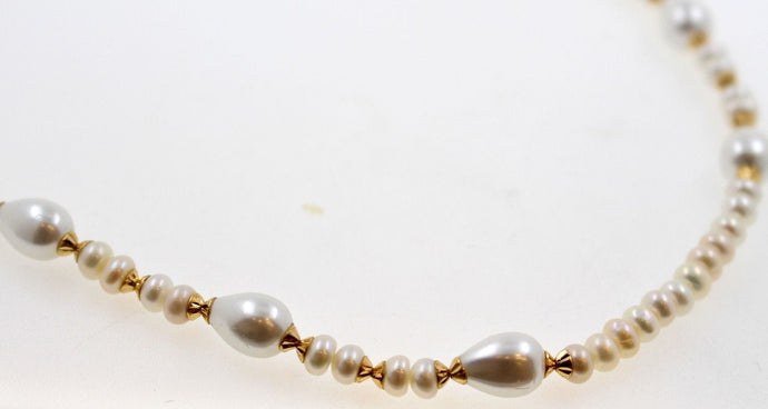 22k 22ct Chain Solid beautiful Gold Necklace natural pearls stones 18inch c907