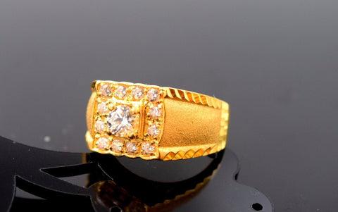 "22k Solid Gold ELEGANT MENS Ring Exquisite Design ""RESIZABLE"" R517"