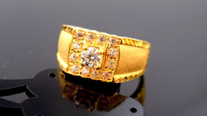 "22k Solid Gold ELEGANT MENS Ring Exquisite Design ""RESIZABLE"" R517 