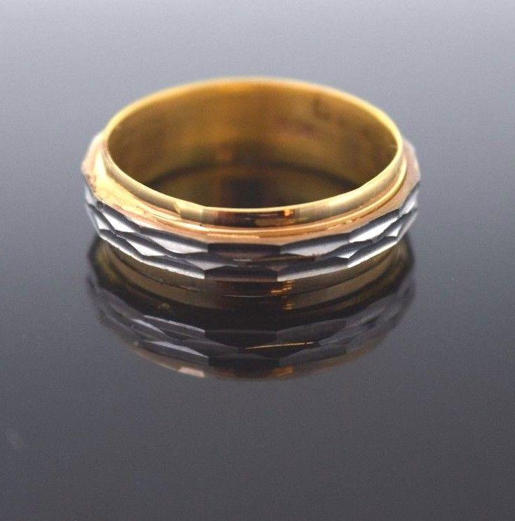 22k 22ct Solid Gold RHODIUM LASER CUT UNISEX Ring BAND
