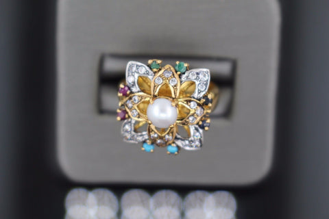 "22k 22ct Solid Gold ELEGANT Antique Ladies Stone Ring SIZE 6.5 ""RESIZABLE"" r1112"