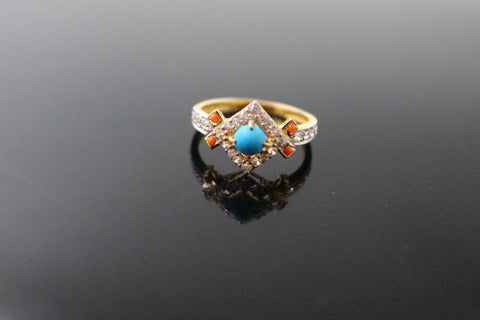"22k 22ct Solid Gold ELEGANT Antique Ladies Stone Ring SIZE 7.0 ""RESIZABLE"" r1554"