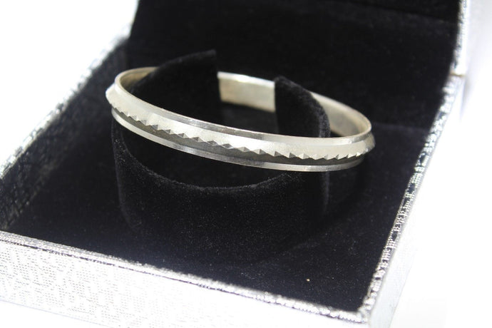 1PC HANDMADE Men b38 Solid Sterling Silver 925 size 2.5 inch kara Bangle Cuff