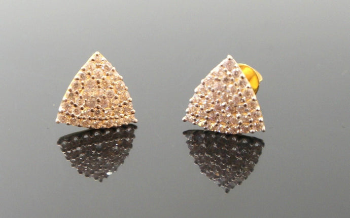 22k 22ct Solid Gold ELEGANT TRIANGLE ZIRCONIA TOPS EARRING Design E5538