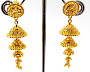 22k 22ct Jewelry Solid Gold ELEGANT LONG JHUMKE DANGLING Earring e5810