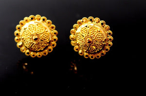 22k Jewelry Solid Gold ELEGANT STUD SCREW BACK EARRINGS Unique Design E2138