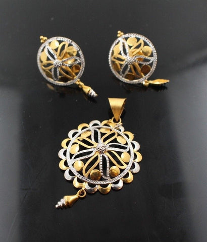 22k 22ct Solid Gold GORGEOUS RHODIUM BIG ROUND DANGLING Pendant Set EARINGS p861 | Royal Dubai Jewellers