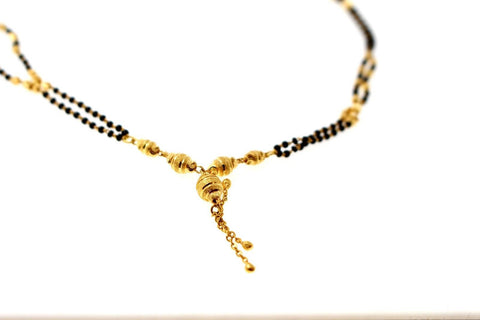 "22k 22ct Yellow Gold MODERN MANGALSUTRA BLACK BEADS PENDANT Chain 18"" c817"