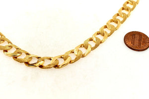 22k Chain Yellow Solid Gold Necklace Exquisite Cuban Link Design 22 inch c698