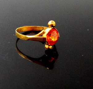 "22k 22ct Solid Gold BEAUTIFUL BABY Ring Orange Stone SIZE 0.9 ""RESIZABLE"" r1231"