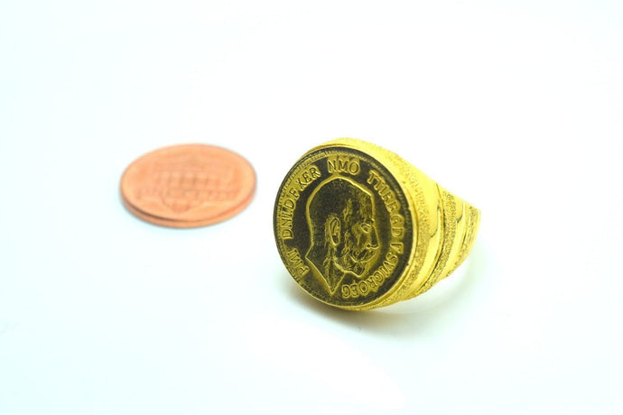 22k 22ct Solid Gold ELEGANT COIN GINNI MEN Ring