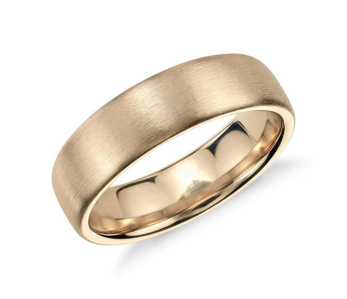 14k Solid Gold Matte Modern Comfort Fit Wedding Ring 6mm Custom Size Avaliable