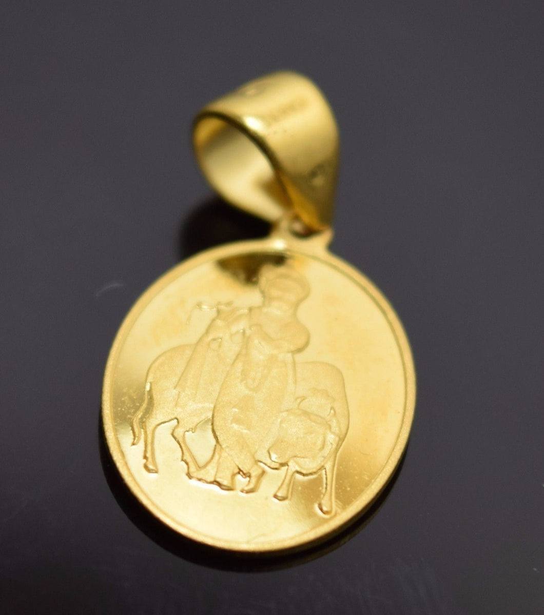 22k Solid Gold Lord Krishna krishan gopal OM OHM pendant locket charm P186 | Royal Dubai Jewellers