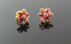 22k 22ct Solid Gold ELEGANT FLOWER TINY PINK STONE ZIRCONIA TOPS EARRING E5535