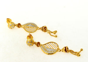 22k 22ct Solid Gold ROHDIUM TWO-TONE LONG DANGLING HANGING JHUMKI Earring e5443 | Royal Dubai Jewellers