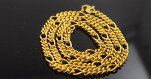 22k Yellow Solid Gold Chain Necklace 0.11mm c190 Curb Design