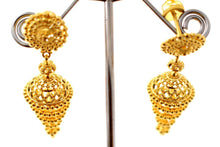 22k 22ct Solid Gold ELEGANT LONG JHUMKE EARRINGS Antique Design E5766