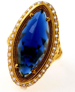21k 21ct GOLD ELEGANT BLUE STONE DESIGNER LADIES RING SIZE 10 R1569