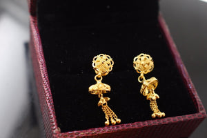 22k 22ct Solid Gold ELEGANT EARRINGS LONG HANGING Charm Design E5112