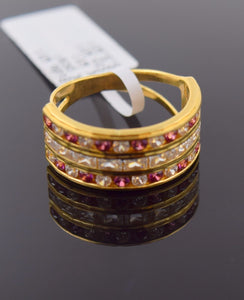 "22k 22ct Solid Gold STONE RUBY LADIES BAND Ring SIZE 7.2 ""RESIZABLE"" R689"