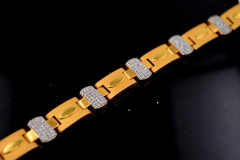 22k 22ct Solid Gold VINTAGE ITALIAN CUBIC ZIRCONIA MEN BRACELET LENGH 8.5in B512 | Royal Dubai Jewellers