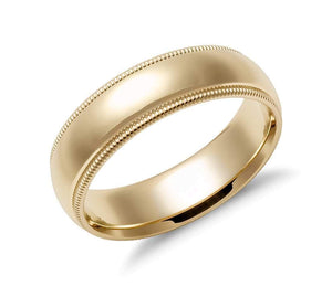14k Solid Gold Milgrain Comfort Fit Wedding Ring 6mm Custom Size Avaliable