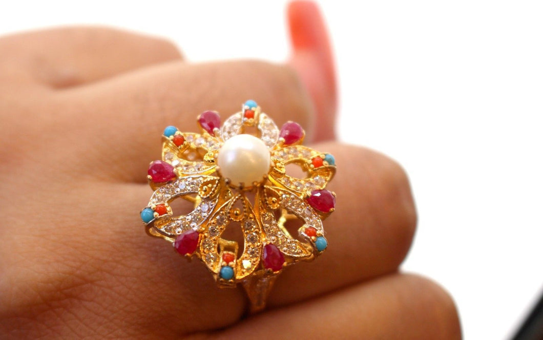 22k 22ct Solid Gold ELEGANT Antique Ladies Stone Ring SIZE 6.0 r1529